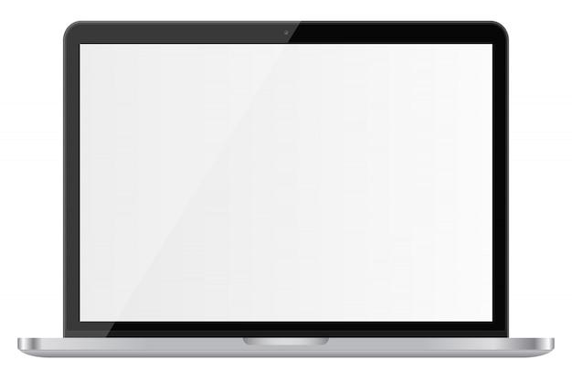 Błyszczący laptop z pustym ekranem odizolowywającym