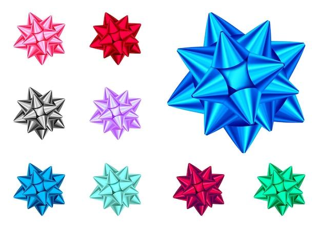 Błyszczący łuk prezent na białym tle. niebieski, czerwony, zielony, różowy, czarny, fioletowy ozdoba świąteczna, noworoczna. wektor zestaw elementów projektu wakacje na baner, kartkę z życzeniami, plakat.