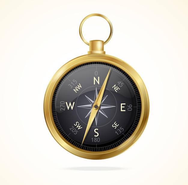 Błyszczący metalowy kompas w stylu retro z różą wiatrów.