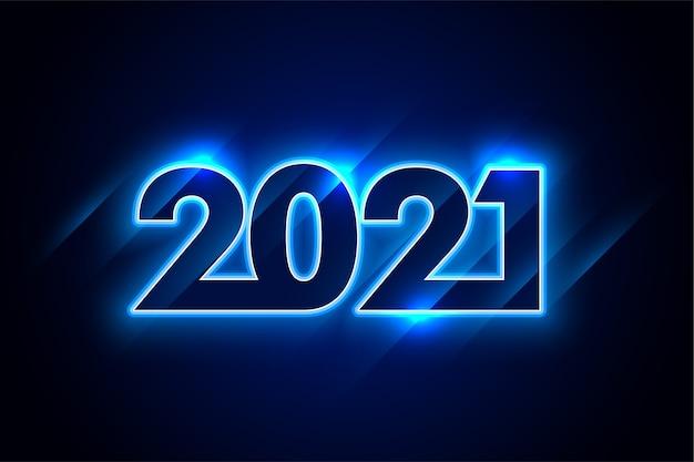 Błyszczący neon niebieski 2021 szczęśliwego nowego roku tło