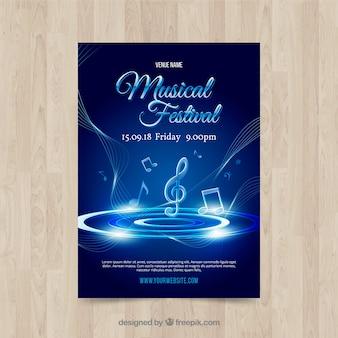 Błyszczący niebieski plakat szablon muzyki