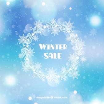 Błyszczący niebieski zimowy projekt sprzedaży