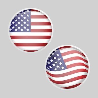 Błyszczący okrągły szklany zestaw flaga usa
