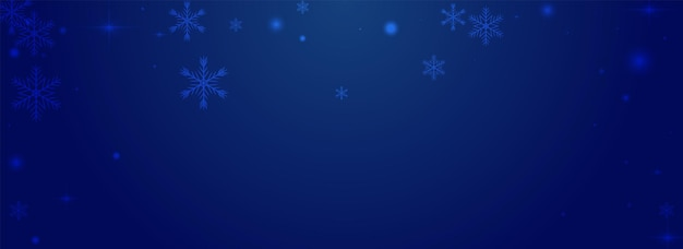 Błyszczący opady śniegu wektor pnoramic niebieskim tle. srebrny wzór magicznego konfetti. boże narodzenie śnieżynka tło. świecące kropki tapeta.