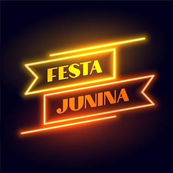 Błyszczący plakat w stylu festa junina w kształcie wstążki neon