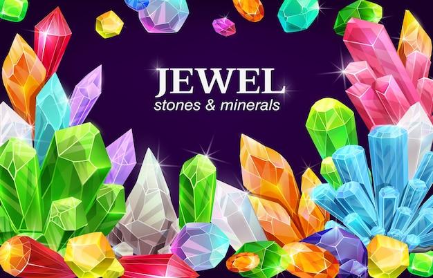 Błyszczący plakat z klejnotami, kamieniami szlachetnymi i kryształami