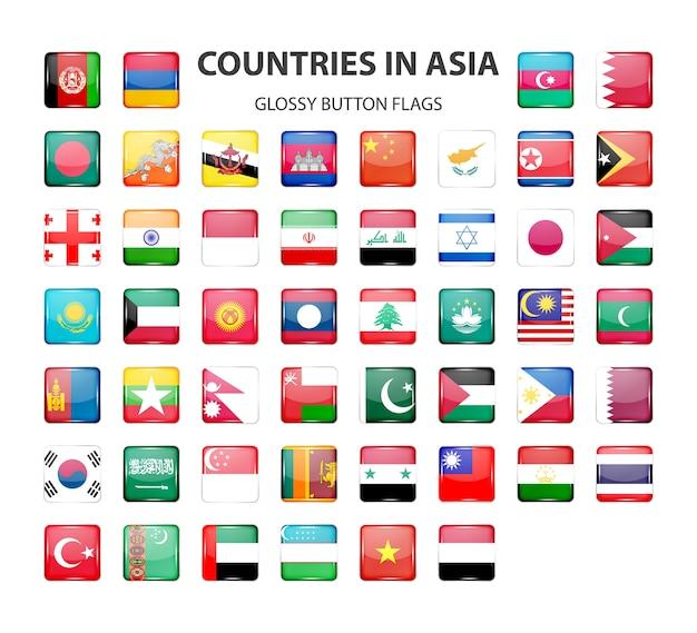 Błyszczący przycisk flagi w oryginalnych kolorach azji