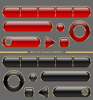Błyszczący przycisk web zestaw różnych kształtów. czerwony i czarny plastik w kolekcji złotej cienkiej ramki na przezroczystym tle