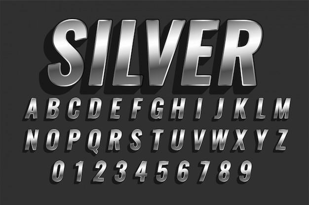 Błyszczący srebrny efekt tekstowy w stylu 3d