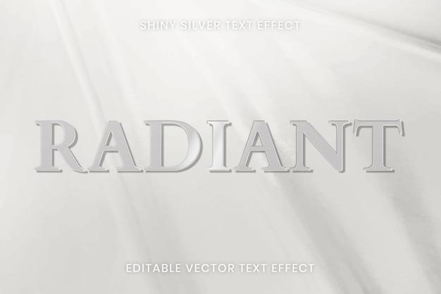 Błyszczący srebrny efekt tekstowy wektor edytowalny szablon