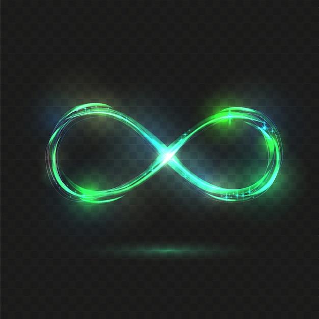 Błyszczący symbol nieskończoności. przezroczysty, lśniący nieskończony.