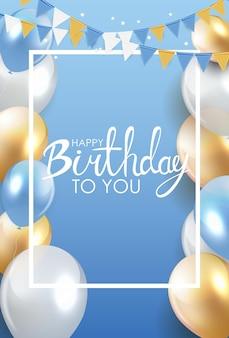 Błyszczący szczęśliwy urodziny balony tło wektor ilustracja