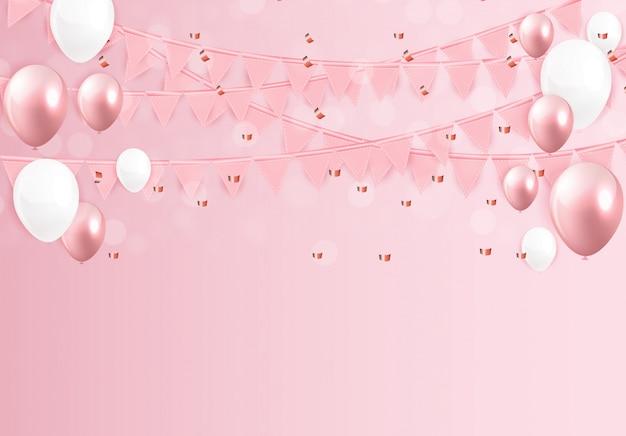 Błyszczący szczęśliwy urodziny balony tło