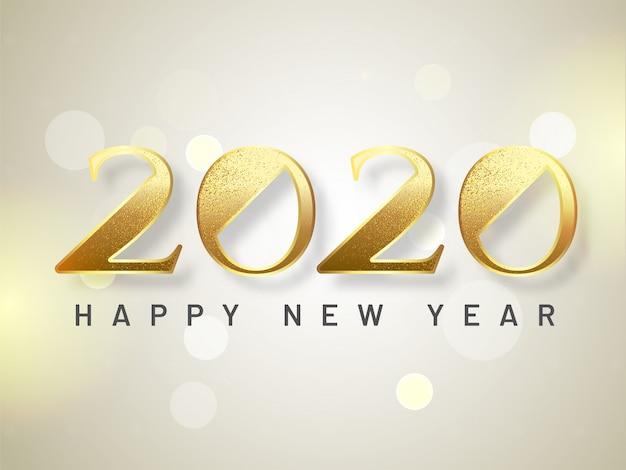 Błyszczący tekst 2020 na efekt bokeh na obchody szczęśliwego nowego roku.