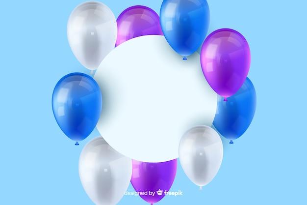 Błyszczący trójwymiarowy balon tło z pustym hasłem