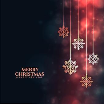 Błyszczący wesołych świąt bożego narodzenia płatki śniegu festiwal tła