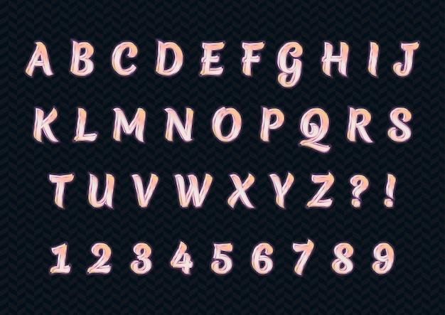 Błyszczący zestaw liczb alfabetów w kolorze różowego złota