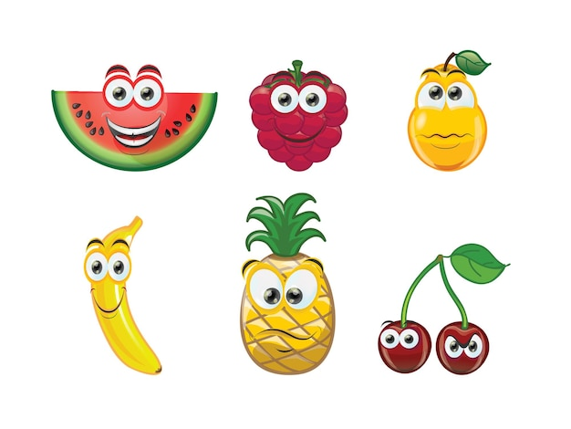 Błyszczący zestaw owoców z uroczą twarzą w stylu kreskówki cartoon