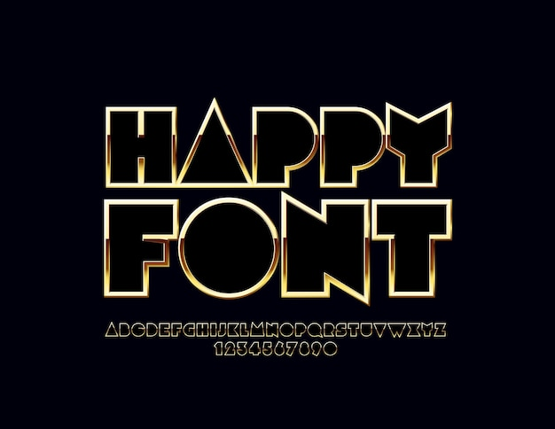 Błyszczący złoty alfabet. luksusowy zestaw oryginalnych liter i cyfr
