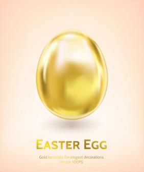 Błyszczący złoty easter egg szablon wektor przez siatki gradientu