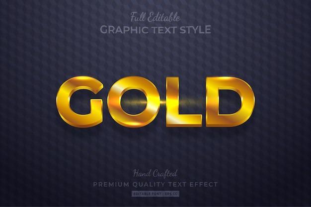 Błyszczący złoty edytowalny efekt stylu tekstu 3d premium