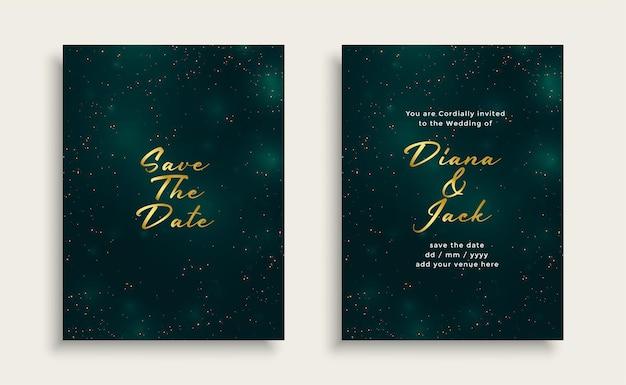 Błyszczący złoty i ciemnozielony projekt karty ślubu