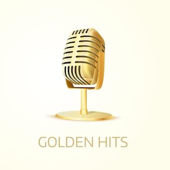 Błyszczący złoty mikrofon studyjny