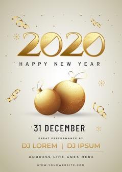 Błyszczący złoty plakat z tekstem 2020 z bombkami i szczegółami wydarzenia na obchody szczęśliwego nowego roku