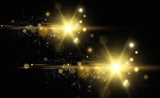 Błyszczący złoty pył. błyszczące błyszczące iskierki.