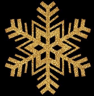 Błyszczący złoty świąteczny płatek śniegu