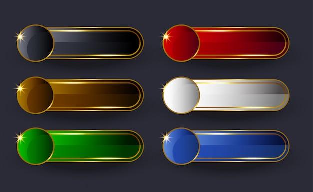 Błyszczący złoty zestaw przycisków szerokich zaokrąglonych sieci web. przyciski wektor nowoczesny styl materiału.