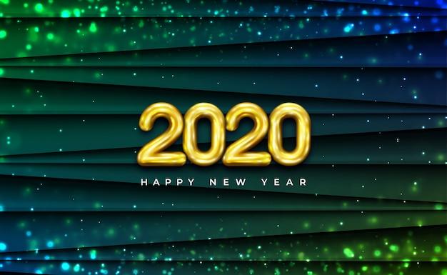 Błyszczący żółty dmuchany dwa tysiące dwudziestu 2020