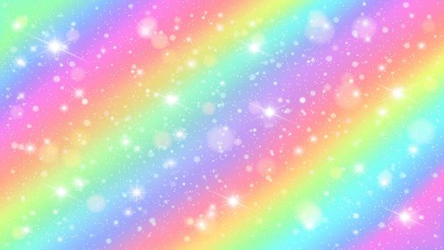 Błyszczy tęczowe niebo. błyszczące tęcze pastelowego koloru magii czarodziejskie gwiaździste nieba i błyskotliwość błyskają tło ilustrację