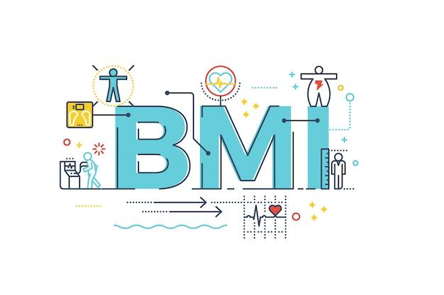 Bmi: ciało mass index słowo napis typografia projektowanie ilustracji