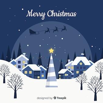 Boże Narodzenie miasto tło w płaskiej konstrukcji