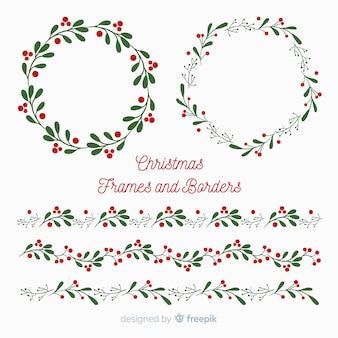 Boże Narodzenie płaskie ramki i granice