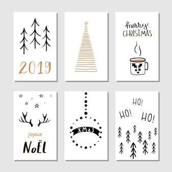 Boże Narodzenie ręcznie rysowane kartki z życzeniami.