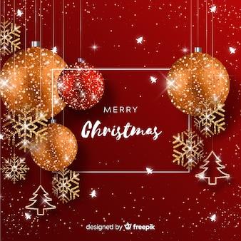 Boże Narodzenie tło z elementami świecidełka