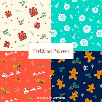 Boże Narodzenie wzór kolekcji w płaskiej konstrukcji