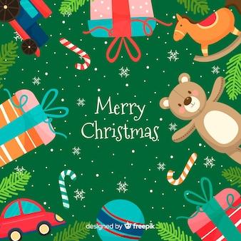 Boże Narodzenie zabawki rama tło