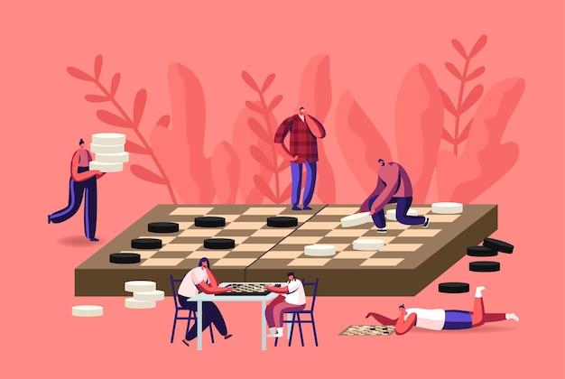 Boardgame intelligence rekreacja, wypoczynek lub rodzinne hobby z malutkimi postaciami grającymi w wielkie warcaby. turniej gier planszowych, logiczna rywalizacja intelektualna. ilustracja wektorowa kreskówka ludzie
