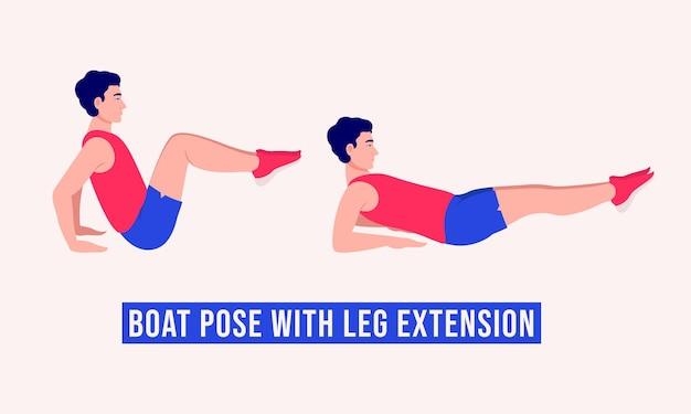 Boat pose with leg extension ćwiczenie mężczyźni ćwiczą fitness aerobik i ćwiczenia