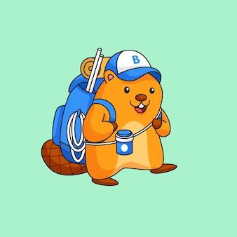 Bóbr chce iść na kemping, zwierzę nosić duży plecak i maskotkę przedstawiającą zarys narzędzia przygodowego