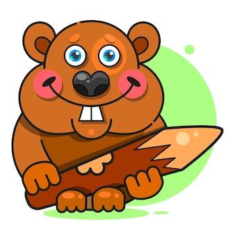 Bóbr w płaskim stylu. symbol, ilustracja logo. ikona uśmiechu