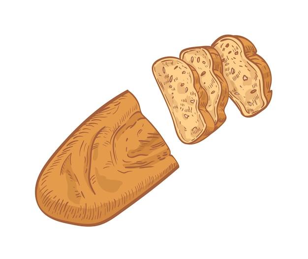 Bochenek chleba pokroić w plasterki na białym tle