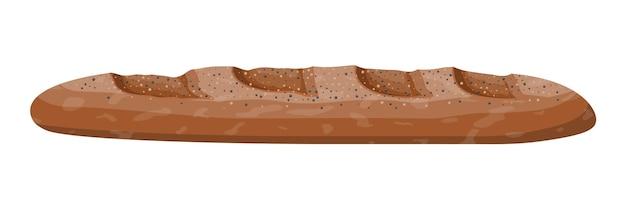 Bochenek ciemnego chleba. bagietka z bułki żytniej. pieczone jedzenie. piekarnia. ilustracja wektorowa w stylu płaski
