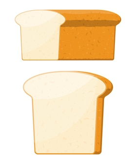 Bochenek pszennego chleba tostowego. zbożowa bułka. pieczone jedzenie. bagietka. piekarnia. ilustracja wektorowa w stylu płaski