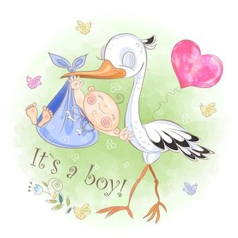 Bocian leci z chłopcem