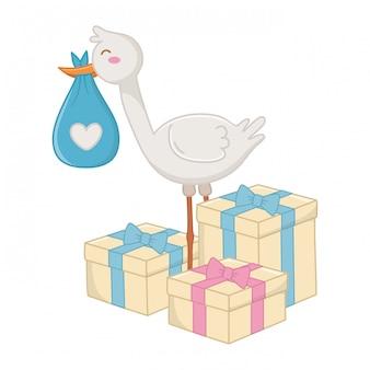 Bocian z prezentów pudełkami ilustracyjnymi