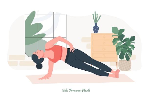 Boczna pozycja deski do jogi młoda kobieta ćwicząca ćwiczenia jogi